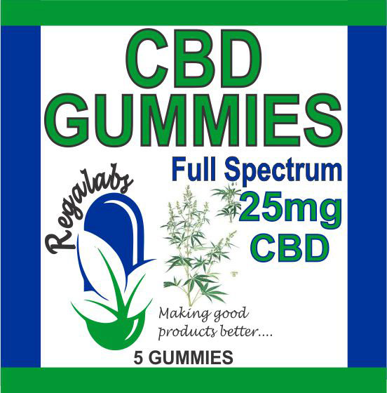 Private Label CBD Gummies 25mg Full Spectrum, 5 Gummies