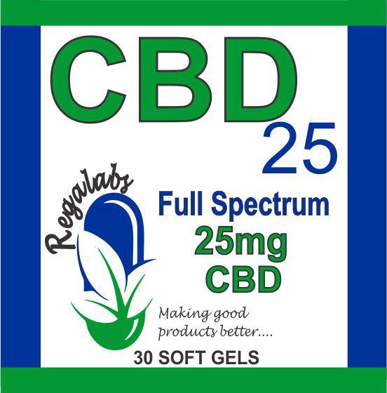 Private Label CBD Capsules, 25mg Full Spectrum, 30 Capsules