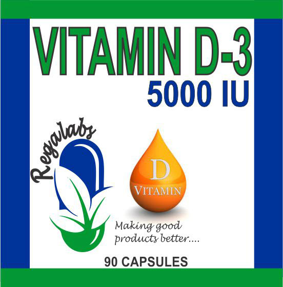 Private Label Vitamin D-3 5000 IU, 90 Capsules