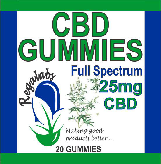 Private Label CBD Gummies 25mg Full Spectrum, 20 Gummies